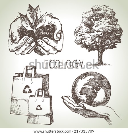 Sketch ecology set. Hand drawn vector illustration - stock vector