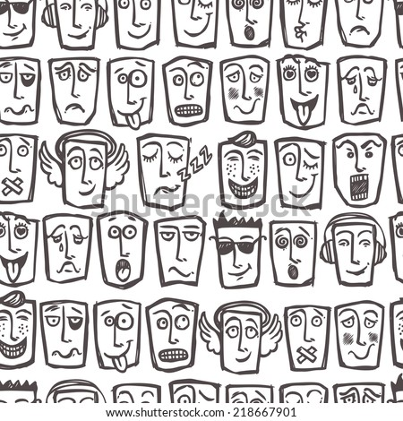 Sketch emoticons man face expressions and character seamless pattern vector illustration - stock vector