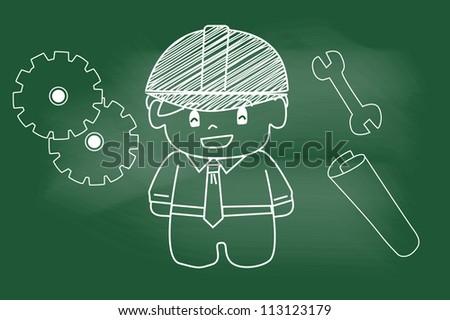 sketch engineer on blackboard - stock vector