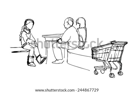 sketch family resting at the mall - stock vector