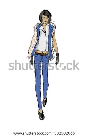 SKETCH. fashion girl - stock vector