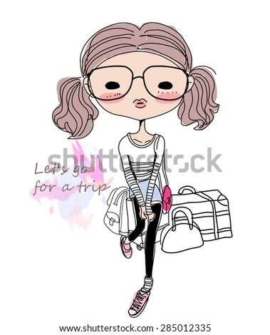 Sketch fashion girl and luggage - stock vector