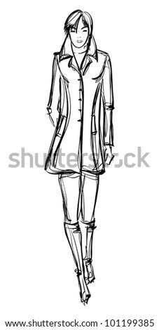 SKETCH. fashion girl. Hand-drawn fashion model - stock vector