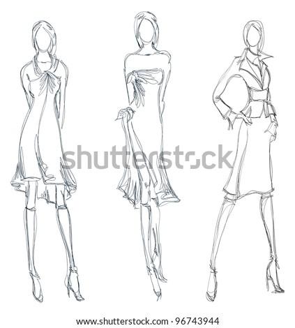 Sketch Fashion Girl Handdrawn Fashion Model Stock Vector 96743944 ...