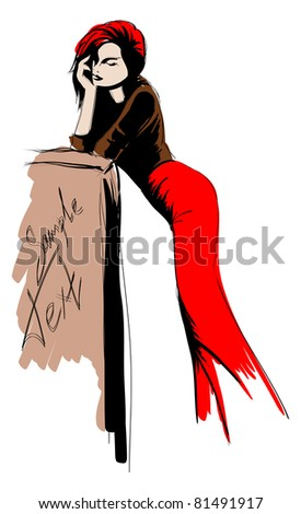 SKETCH. fashion girl. Hand-drawn fashion model. Vector illustration. - stock vector