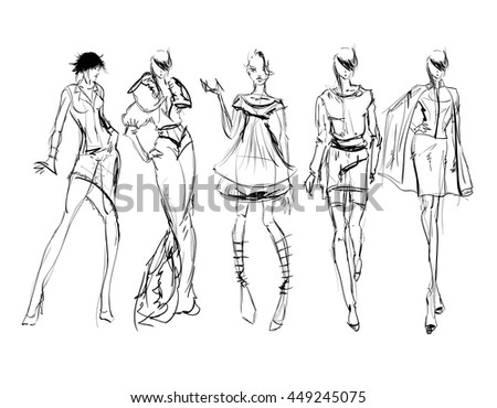 Sketch. Fashion Girls on a white background - stock vector