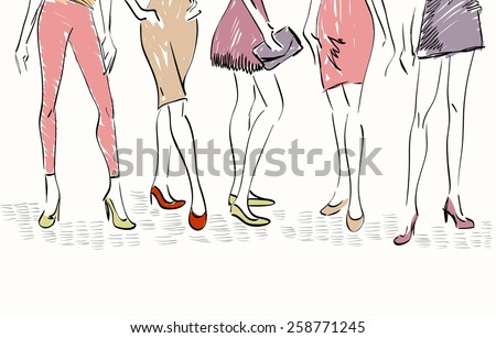 sketch fashion models. Women show fashionable clothes - stock vector