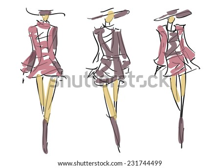Sketch Fashion Poses - stock vector
