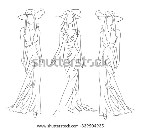Sketch Fashion - women   - stock vector