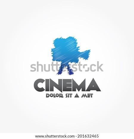 sketch film camera vector design template - stock vector