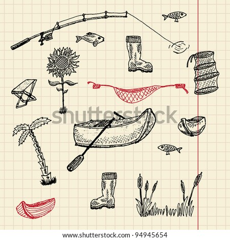Sketch fishing set, vector illustration, eps10 - stock vector