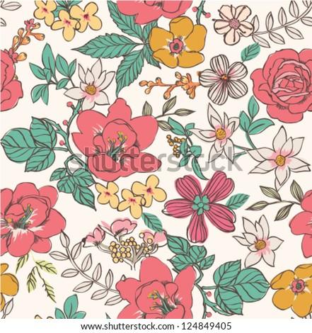sketch flower seamless pattern background - stock vector