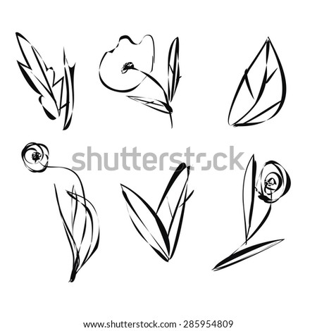 Sketch flowers leaves and plants with black outlines isolated on white background. Hand-painted flowers. - stock vector
