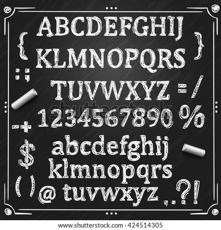 Sketch font, Board with a set of symbols, Chalkboard sign, Vector illustration. - stock vector