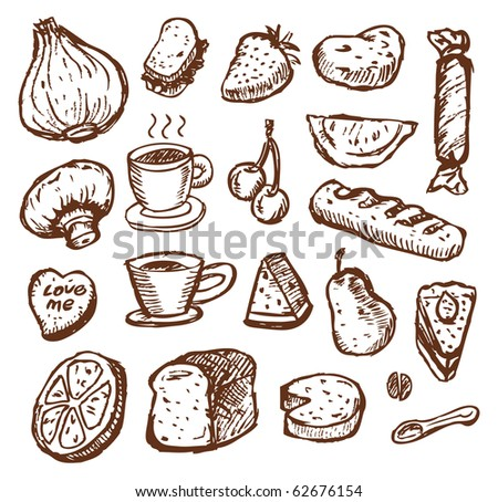 sketch food - stock vector