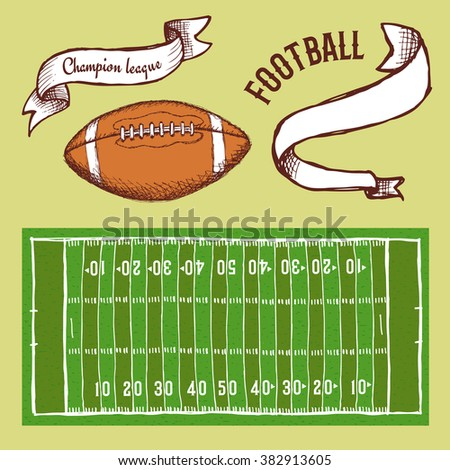 Sketch football set  in vintage style, vector - stock vector