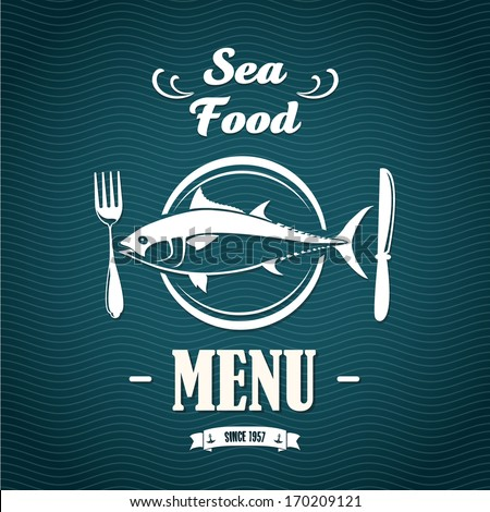 Sketch for a restaurant menu. Sea food. - stock vector