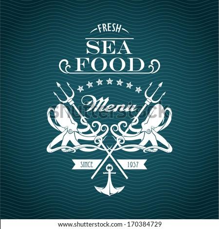 Sketch for a restaurant menu. Sea food - stock vector