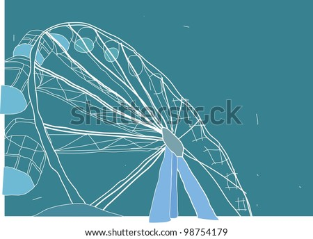Sketch for Ferris Wheel isolated on blue background : vector illustration - stock vector