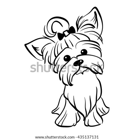 cute cartoon yorkshire terrier stock images  royalty free images   vectors shutterstock dog head outline clip art dog paw outline clip art