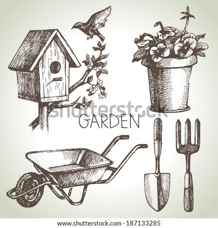 Sketch gardening set. Hand drawn design elements  - stock vector