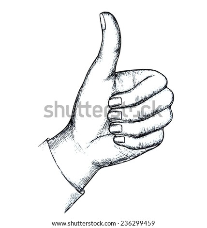 Sketch, gesture, isolated on white background. Vector illustration. - stock vector
