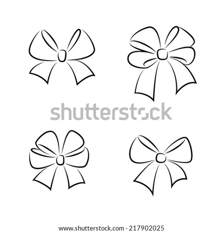 Sketch gift bows. Hand drawn graphic elements for your design  - stock vector