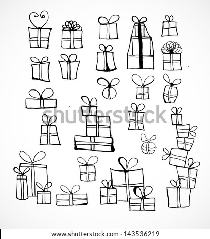 Sketch gift boxes collection. Hand-drawn with ink. Vector illustration. - stock vector