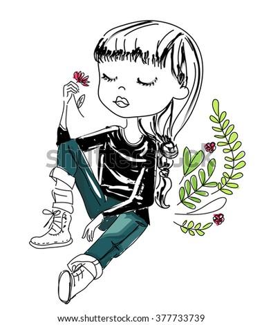 Sketch girl - stock vector