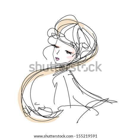 sketch girl hand drawn woman illustration black line art long hair vector girl  - stock vector