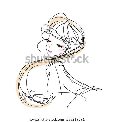 sketch girl hand drawn woman illustration black line art long hair vector girl  - stock vector