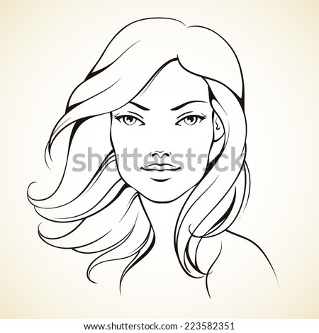 Sketch girl with wave hair. Line graphic
