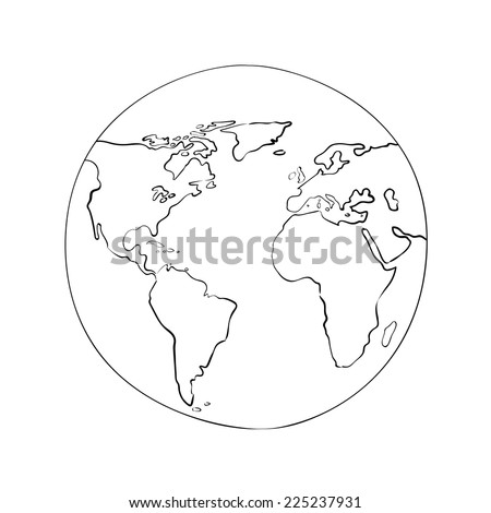 Sketch globe world map black on stock vector 225237931 shutterstock sketch globe world map black on white background vector illustration gumiabroncs