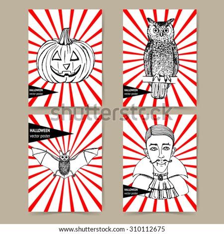 Sketch Halloween poster in vintage style, vector sets. Owl, vampire, bat and pumpkin. - stock vector