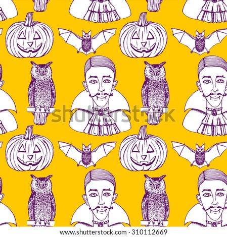Sketch Halloween seamless pattern in vintage style, vector. Owl, vampire, bat and pumpkin. - stock vector
