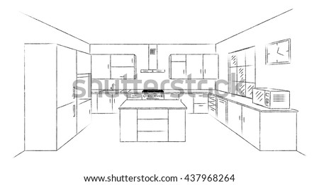 Sketch Hand Drawing Kitchen Interior Plan Stock Vector 437968264 Shutterstock