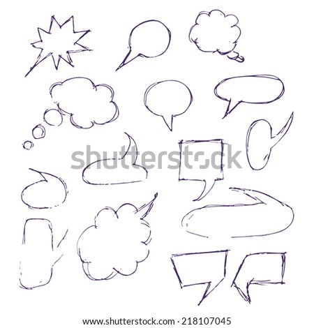 Sketch hand drawn bubble speech isolated on white background. Speech bubbles set. Hand drawing sketch.
