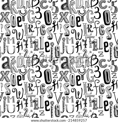 Sketch hand drawn doodle black alphabet stock photo photo vector sketch hand drawn doodle black alphabet letters and numbers seamless pattern vector illustration thecheapjerseys Choice Image