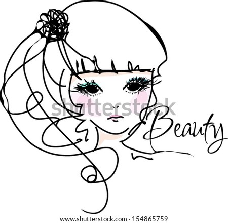 sketch hand drawn girl face, fashion and beauty illustration - stock vector