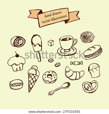 sketch hand drawn icons for cafe, bistro, restaurant and fast food - stock vector