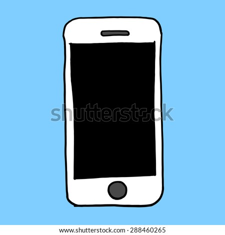 Sketch hand drawn illustration of smart phone cell device with blank screen - stock vector