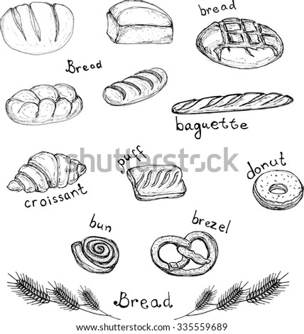 Sketch hand drawn set of bakery products - bread, baguette, croissant, puff, donut, bun, brezel vector Design element for for textiles, advertising, brochures, menu