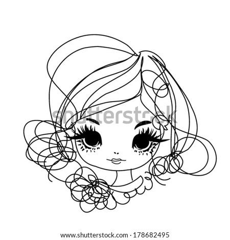 sketch hand drawn woman ace, big eye fashion girl illustration - stock vector