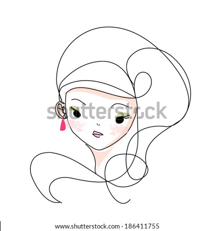 sketch hand drawn woman face, cartoon fashion girl illustration - stock vector