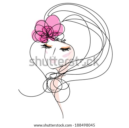 sketch hand drawn woman face, make up girl fashion and beauty illustration with  flower hair accessories - stock vector