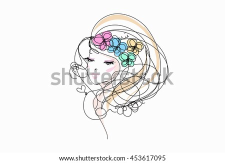 sketch hand drawn woman face, make up girl fashion and beauty illustration with four flower hair accessories - stock vector