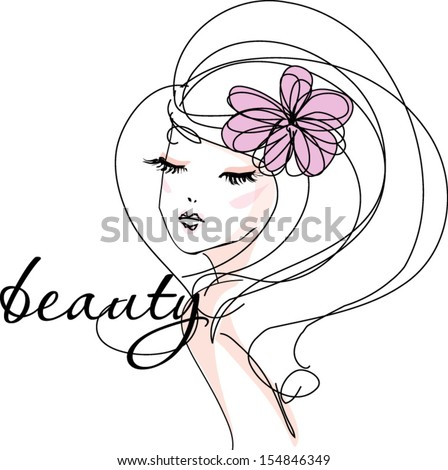 sketch hand drawn woman�s face, make up girl fashion and beauty illustration - stock vector