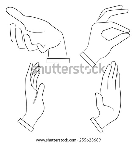 sketch hand sign - stock vector