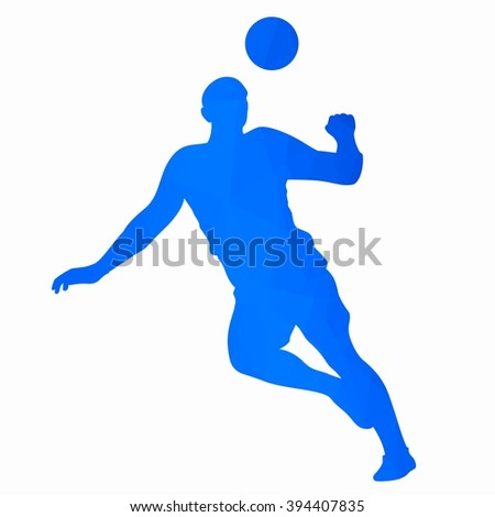 sketch-headed soccer player  ,  blue faces drawing on a white background - stock vector