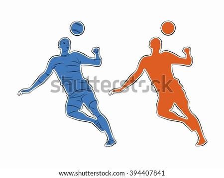 sketch-headed soccer player  , color drawing, white background - stock vector